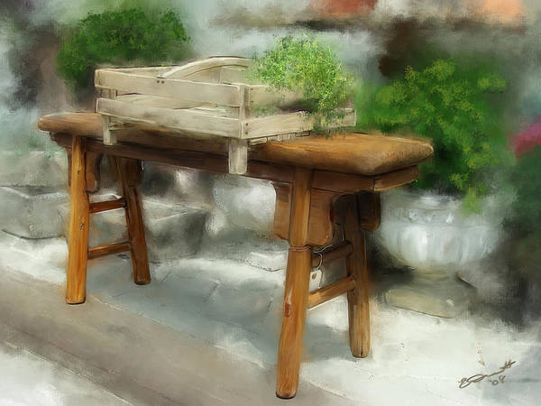 Peterborough Nh Bench Antique Oil Green Brown Earth Tones Poster featuring the painting Antiquing In Peterborough by Eddie Durrett