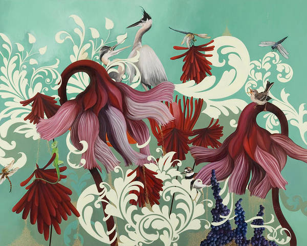Poster featuring the painting Aphrodite's Garden by Resa Blatman