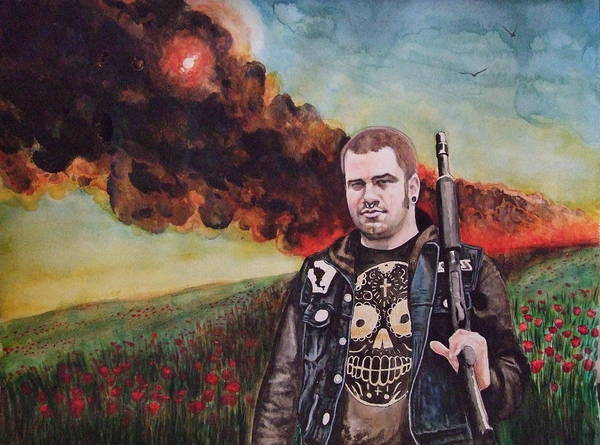 Watercolor Poster featuring the painting Apocalyptic Bliss by Chris Slaymaker