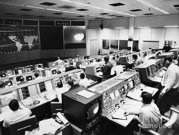 1968 Poster featuring the photograph Apollo 8: Mission Control by Granger