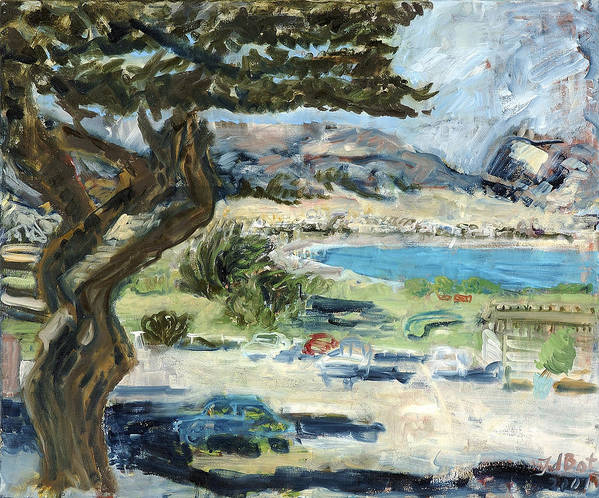 Tree Bay Leaves Shadow Cars Parking Place Hills Bushes Heat Poster featuring the painting Apollo Bay by Joan De Bot