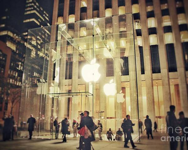 Apple Poster featuring the photograph Apple glass by HELGE Art Gallery