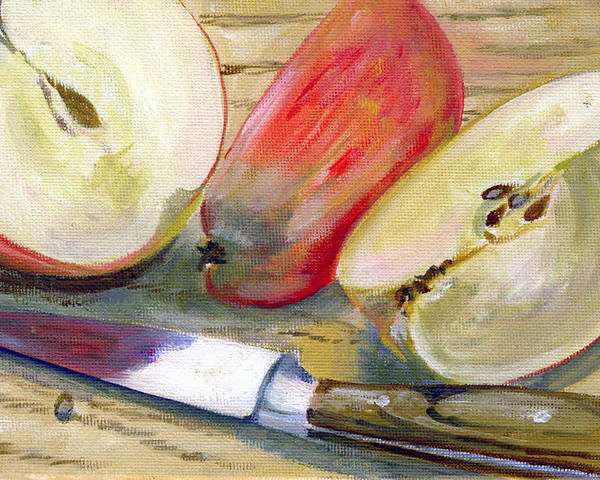 Still-life Poster featuring the painting Apple by Sarah Lynch