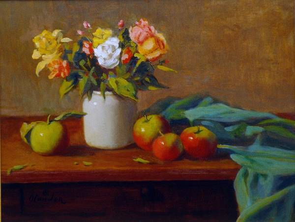 Still Life Alla Prima Poster featuring the painting Apples And Flowers by David Olander
