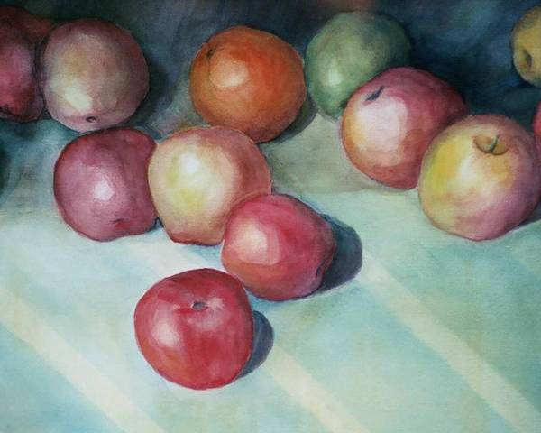 Orange Poster featuring the painting Apples And Orange by Jun Jamosmos