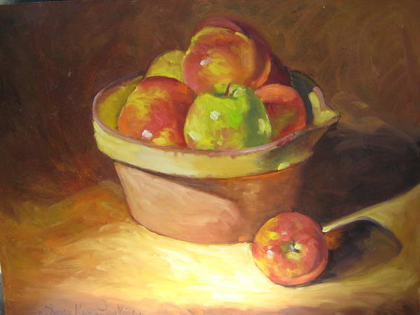 Stilllife Poster featuring the painting Apples In A French Bowl. by Susan Jenkins