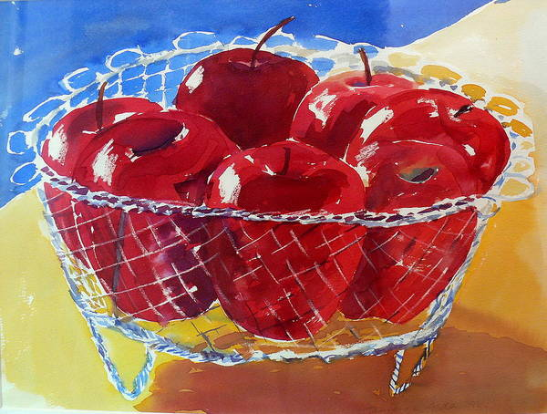 Apples Poster featuring the painting Apples In Wirebasket by Doranne Alden