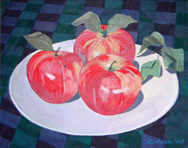 Still Life Apple Poster featuring the painting Apples by Werner Pipkorn