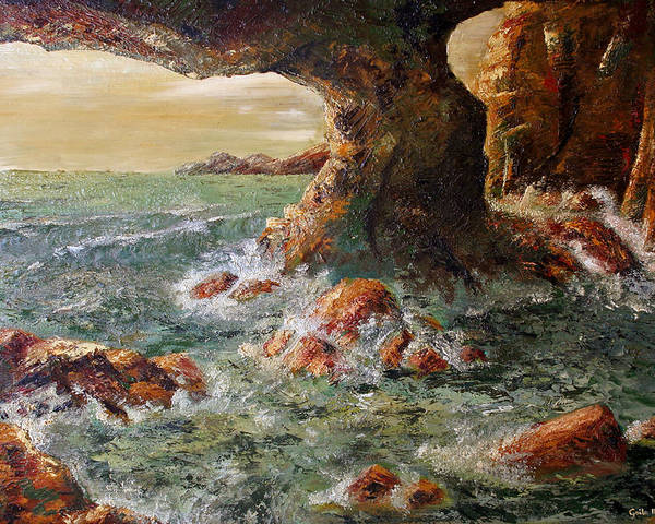 Sea Poster featuring the painting Approaching Storm by Gaile Griffin Peers