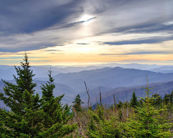 Autumn. Clingmans Dome Poster featuring the photograph Apricot Afternoon at Clingmans Dome by Kristina Plaas