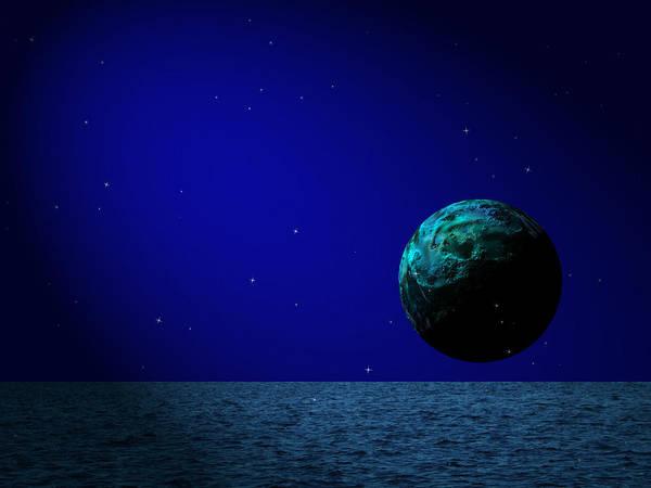 Surreal Poster featuring the digital art Aqua Luna And The Midnight Sun by Juana Maria Garcia-Domenech