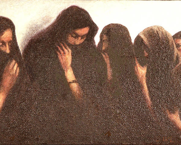 Figures Poster featuring the painting Arab Women by James LeGros