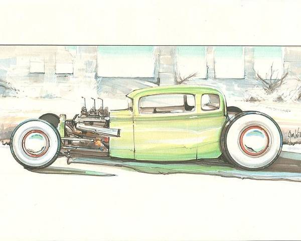 Rat Rod Poster featuring the mixed media Arat by Jim Williams
