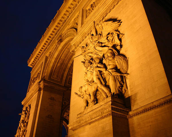 Digitial Photography Poster featuring the photograph Arc De Triomphe At Night by Jennifer McDuffie
