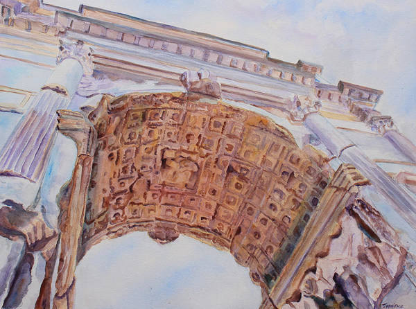 Arch Of Titus Poster featuring the painting Arch Of Titus One by Jenny Armitage