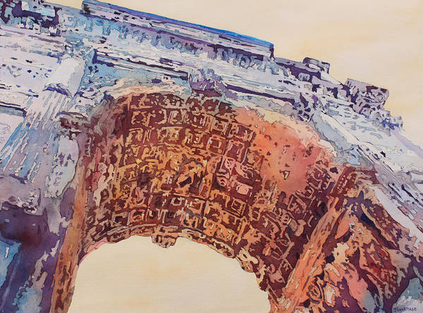 Arch Of Titus Poster featuring the painting Arch Of Titus Two by Jenny Armitage