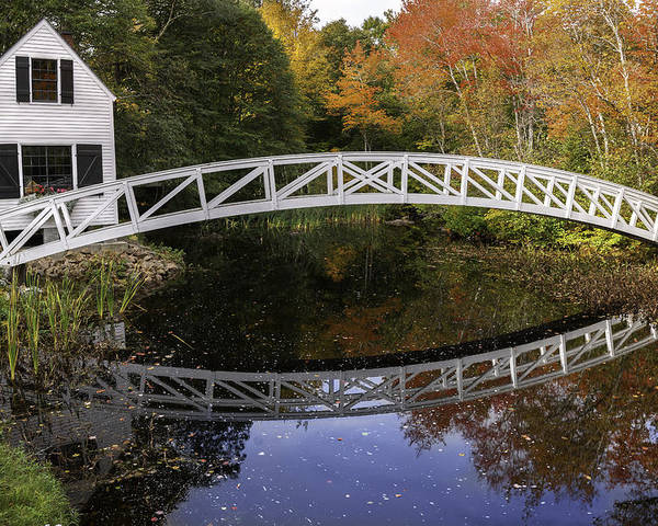 Arched Bridge Poster featuring the photograph Arched Bridge-somesville Maine by Thomas Schoeller
