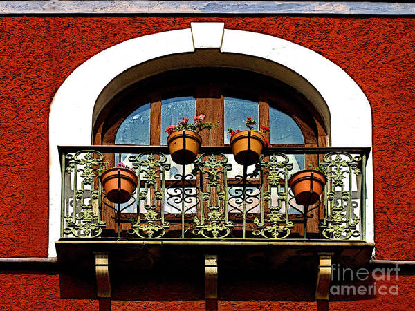 Darian Day Poster featuring the photograph Arched Window With Flowers by Mexicolors Art Photography