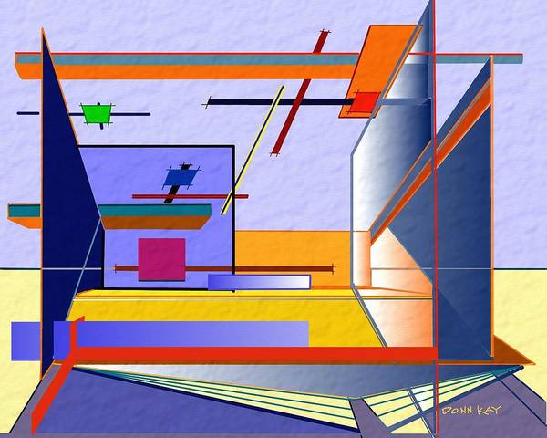 Architectural Art Poster featuring the mixed media Architectural Abstract 2 by Donn Kay