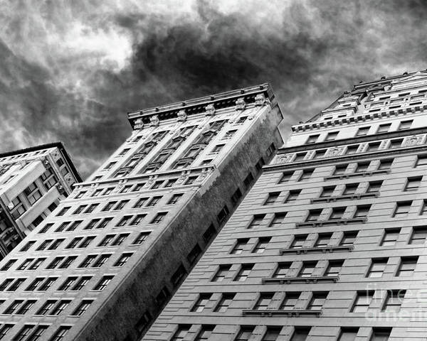 New York Poster featuring the photograph Architecture Tall Buildings Bw Nyc by Chuck Kuhn