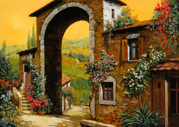 Arch Poster featuring the painting Arco Di Paese by Guido Borelli