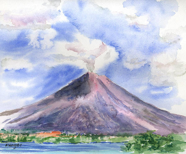 Volcano Poster featuring the painting Arenal Volcano Costa Rica by Arline Wagner