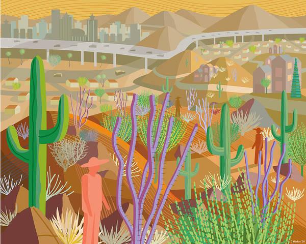 Arizona Poster featuring the digital art Arizona by Charles Harker