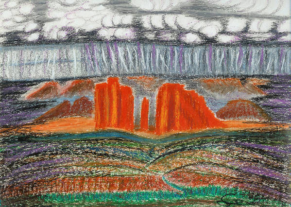 Red Rocks Poster featuring the drawing Arizona Rain by Ingrid Szabo