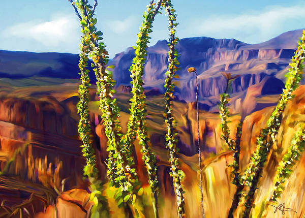 Mountains Poster featuring the painting Arizona Superstition Mountains by Bob Salo