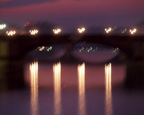 Bridge Poster featuring the photograph Arno River Reflections by Brad Rickerby