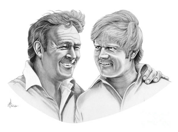 Pencil Poster featuring the drawing Arnold Palmer-jack Nicklaus by Murphy Elliott