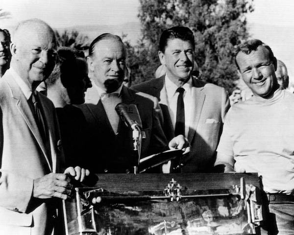 1960s Candids Poster featuring the photograph Arnold Palmer Right, Receives The Bob by Everett