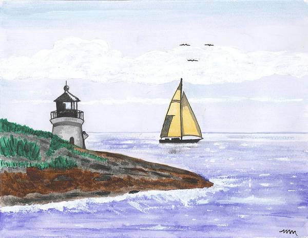 Sailboat Poster featuring the painting Around The Bend Sailboat by Sea Sons Home and Life