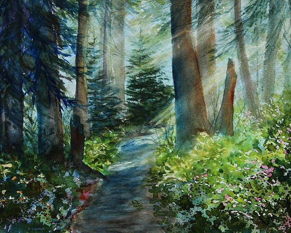 Landscape Poster featuring the painting Around The Path by Kerri Ligatich