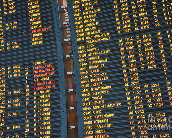 Accuracy Poster featuring the photograph Arrival Board At Paris Charles De Gaulle International Airport by Sami Sarkis