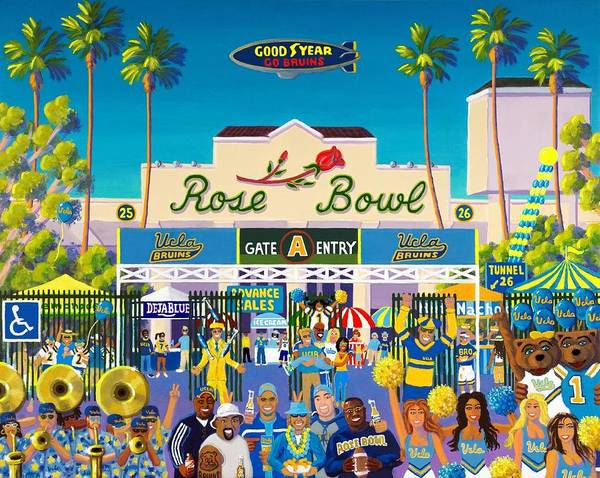 Rose Bowl Poster featuring the painting Arroyo Psychos by Frank Strasser