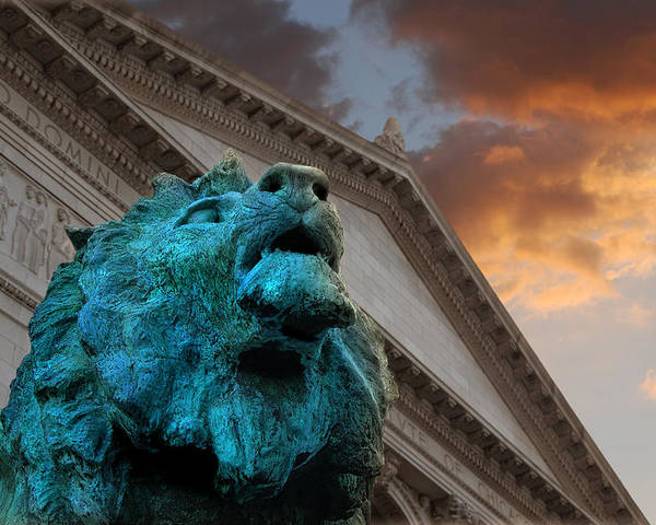 Chicago Poster featuring the photograph Art And Lions by Anthony Citro