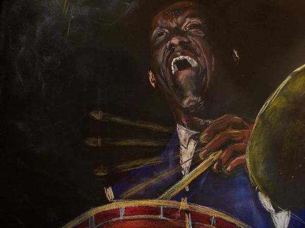 Jazz Poster featuring the drawing Art Blakey Jazz Messenger by Darryl Hines