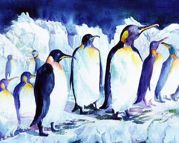 Penquins Poster featuring the painting Arctic Penquins by Connie Williams