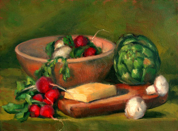 Still Life Poster featuring the painting Artichoke And Radishes by Athena Mantle