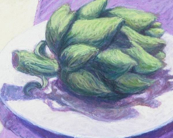 Still Life Poster featuring the painting Artichoke On A White Plate by Dolores Holt