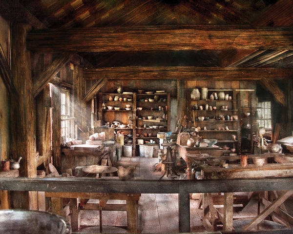 Savad Poster featuring the photograph Artist - Potter - The Potters Shop by Mike Savad