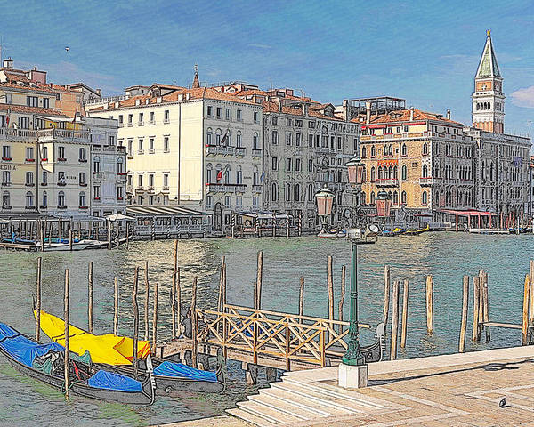 Europe Poster featuring the digital art Artist Impression Of Venice by Johan Elzenga