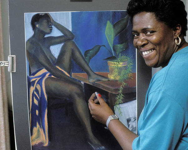 Woman Poster featuring the photograph Artist In Bermuda by Carl Purcell