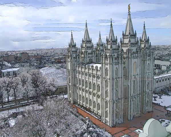 Mormon Poster featuring the digital art Artistic Rendering Of The Salt Lake City Lds Temple by Richard Coletti