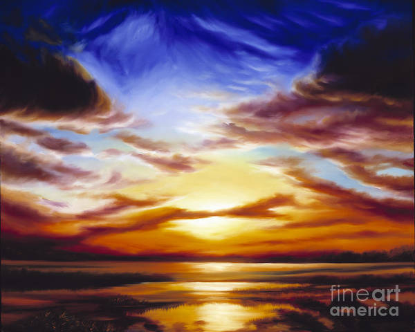 Skyscape Poster featuring the painting As The Sun Sets by James Christopher Hill