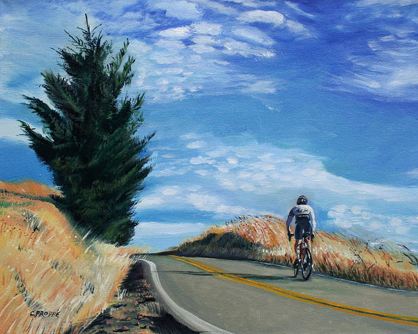 Bike Poster featuring the painting Ascent by Colleen Proppe