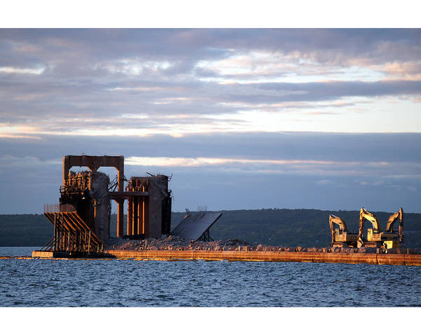 Ashland Wisconsin Dock Water Historic Landmark Blue Sunset Poster featuring the photograph Ashland Ore Dock At Sunset by Pete Mikelson