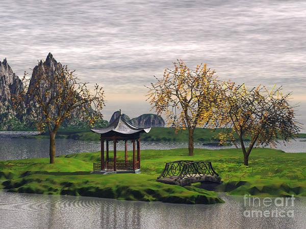 Landscape Poster featuring the digital art Asian Landscape by John Junek