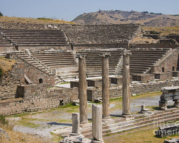 Bergama Pergamon Turkey Asklepion Ancient Ruins Ruin Landscape Landscapes Amphitheater Amphitheaters Architecture Structures Structures Column Columns Landmark Landmarks Acropolis Poster featuring the photograph Asklepion Columns And Amphitheatre by Bob Phillips